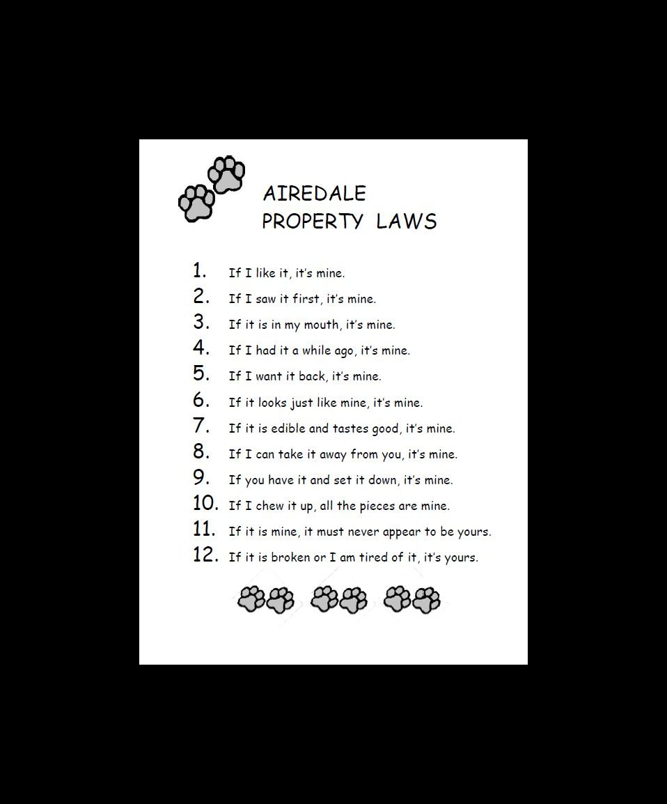 Airedale Terrier Property Laws Dog Print