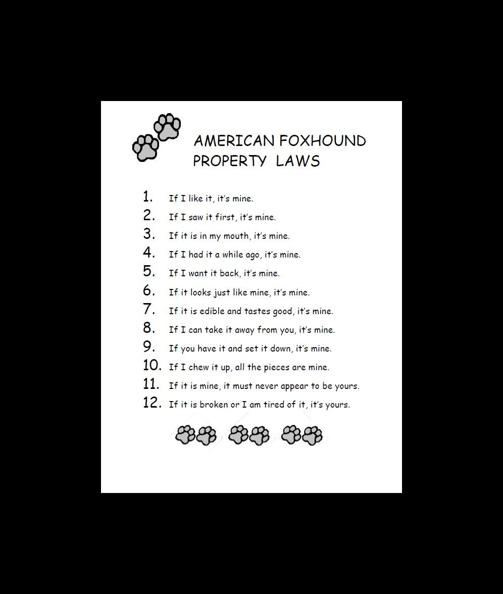 American Foxhound Property Laws Dog Print