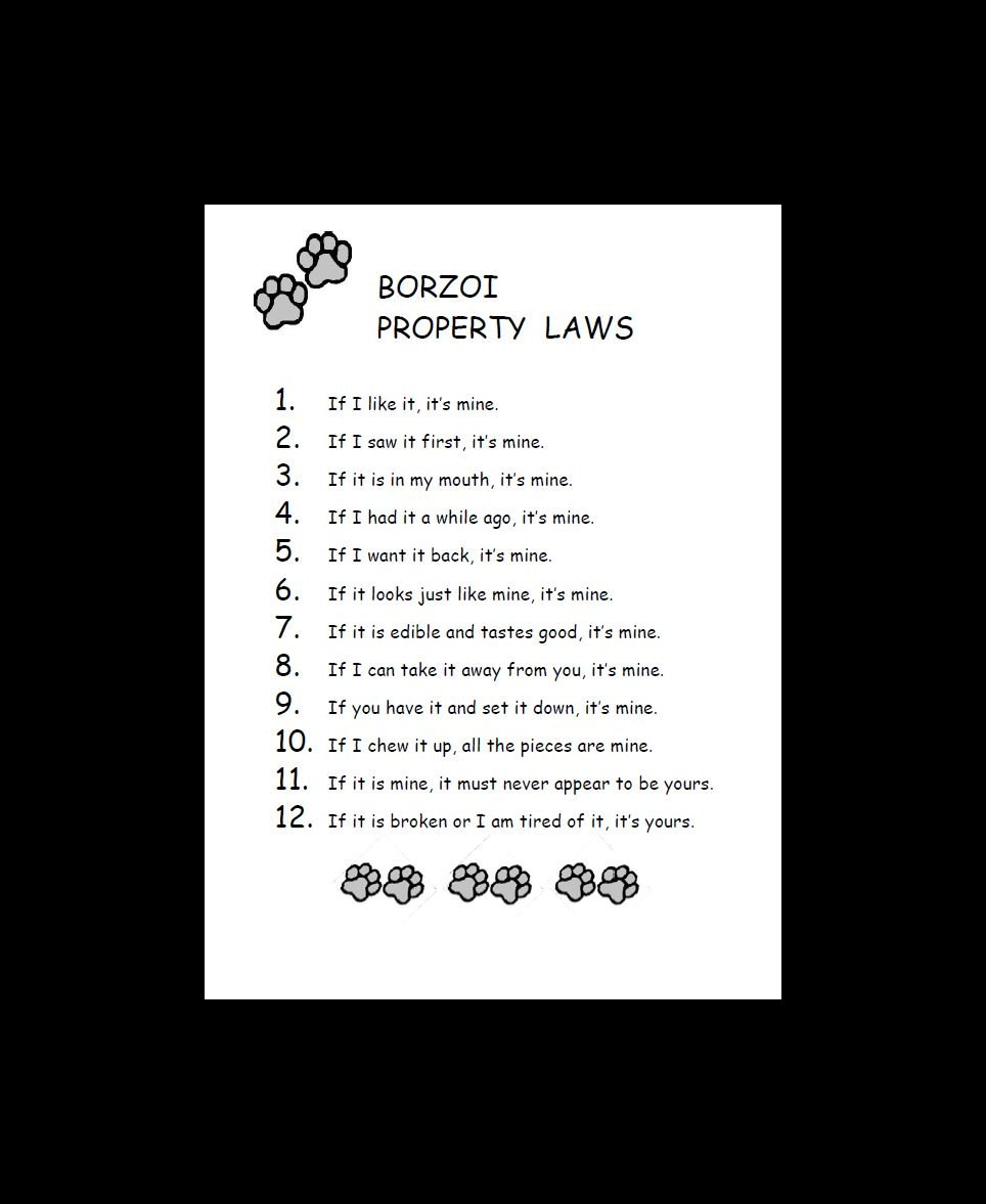 Borzoi Property Laws Dog Print