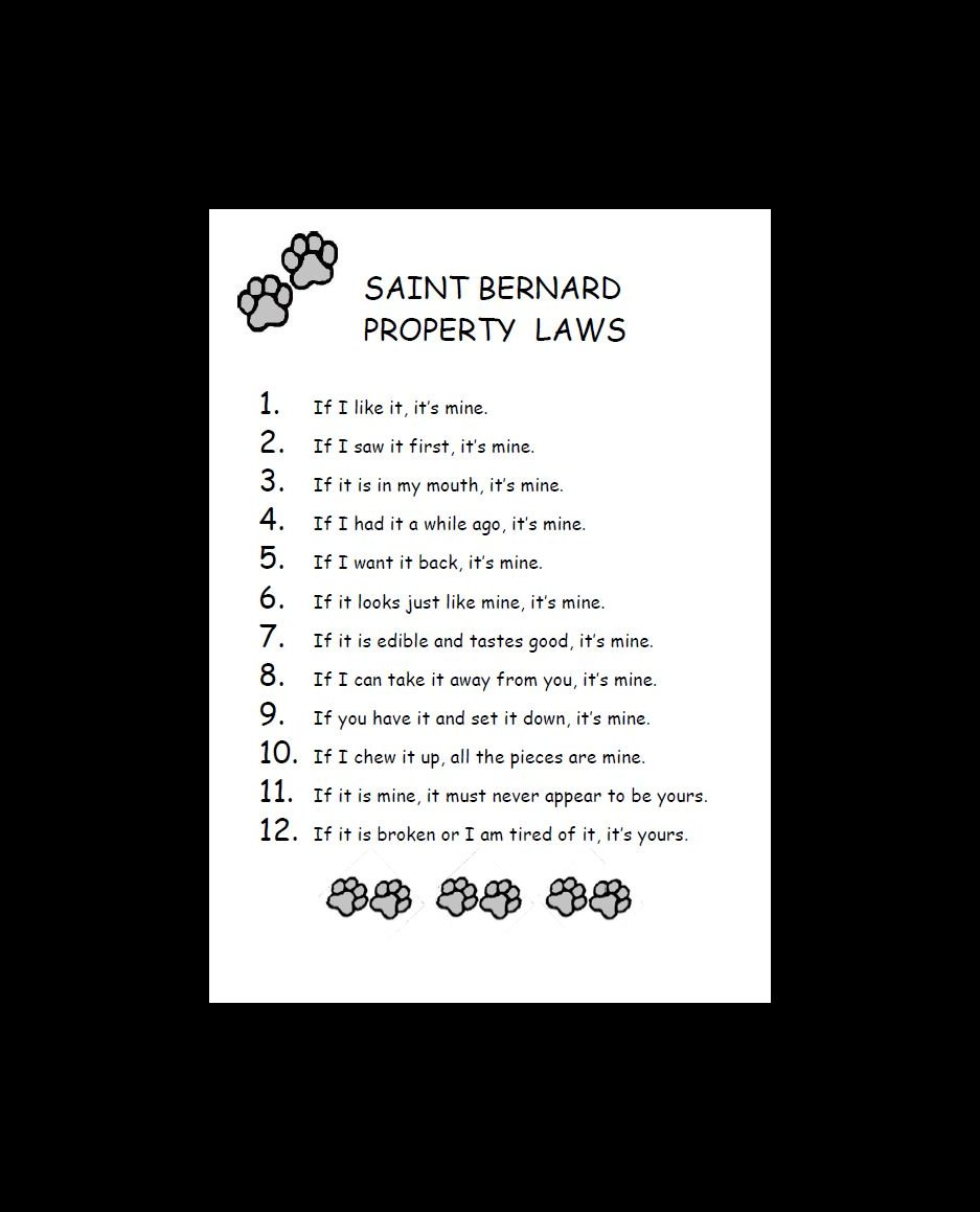 Saint Bernard Property Laws Dog Print